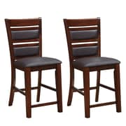 "CorLiving 25"" Counter Height Dining Chairs, Chocolate Brown Bonded Leather - Set of 2 (DWG-484-B)"