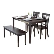 CorLiving Atwood 4pc Dining Set, with Cappuccino Stained Bench and Set of Chairs (DRG-695-Z6)