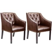 CorLiving Antonio Bonded Leather Club Chair, Brown - Set of 2 (LAD-628-C)
