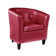 CorLiving Antonio Bonded Leather Tub Chair with Sloping Arms, Red (LAD-755-C)