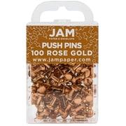 JAM Paper® Push Pins, Rose Gold Pushpins, 100/pack (22432063)
