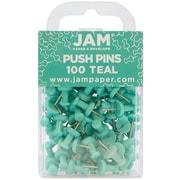 JAM Paper® Push Pins, Teal Pushpins, 100/pack (22432067)