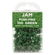 JAM Paper® Push Pins, Green Pushpins, 100/pack (2242954)