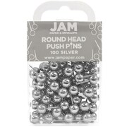 JAM Paper® Map Thumb Tacks Push Pins, Silver Round Top Pushpins, 100/pack (22432214)