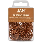 JAM Paper® Circular Colored Papercloops, Rose Gold Round Paper Clips, 50/pack (21832061)