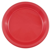 JAM Paper® Round Plastic Plates, Large, 10 inch, Red, 20/pack  (10255LPre)