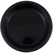 JAM Paper® Round Plastic Plates, Small, 7 inch, Black, 200/box (7255320672b)