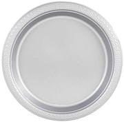 JAM Paper® Round Plastic Plates, Small, 7 inch, Silver, 200/box (255325377b)
