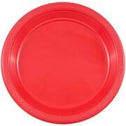 JAM Paper® Round Plastic Plates, Small, 7 inch, Red, 200/box (7255320666b)
