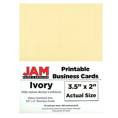 JAM Paper Printable Business Cards 2 x 3 5 Ivory 100