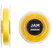 JAM Paper® Double Faced Satin Ribbon, 3/8 inch Wide x 25 yards, Yellow, Sold Individually (803SAye25)