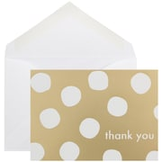 JAM Paper® Thank You Cards Set, Gold Polka Dot,10/pack (D41109TYGLMB)