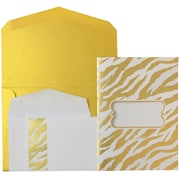 JAM Paper® Wedding Invitations, Combo, 1 small & 1 large, Gold Envelopes White Gold Zebra Stripe, 50/pack (5261045goCO)