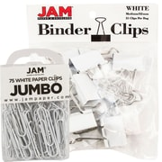 JAM Paper® Office Desk Supplies Bundle, White, Jumbo Paper Clips & Medium Binder Clips, 1 Pack of Each, 2/pack (4218339wh)