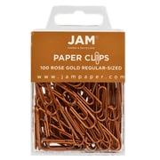 JAM Paper® Colored Standard Paper Clips, Small, Rose Gold Paperclips 100/pack (21832057)