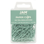 JAM Paper® Colored Standard Paper Clips, Small, Teal Paperclips, 100/pack (21832064)