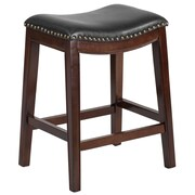 Flash Furniture 26'' High Backless Cappuccino Wood Counter Height Stool with Black Leather Seat (TA411026CA)