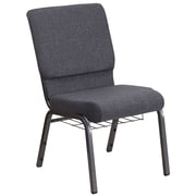 HERCULES Series 18.5''W Dark Gray Fabric Church Chair with  Book Rack - Silver Vein Frame (FCH185SVDGYB)