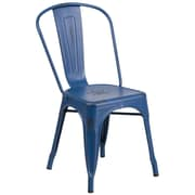 Flash Furniture Distressed Antique Blue Metal Indoor-Outdoor Stackable Chair (ET3534AB)