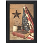 """TrendyDecor4U God and Country -12""""x18"""" Framed Print (BJ175-405)"""