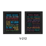 "TrendyDecor4U Family Kids Rules -2-12""x16"" Framed Print (V212-405)"