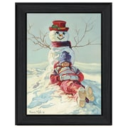 "TrendyDecor4U Girl leaning on snowman -12""x16"" Framed Print (COW205-405)"