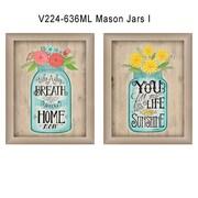 """TrendyDecor4U Mason Jars I -2-12""""x16"""" Framed Print (V224-636ML)"""