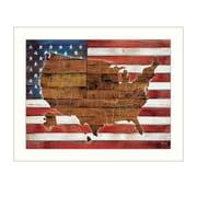 "TrendyDecor4U American Flag USA Map -24""x18"" Framed Print (MA2075-712W)"