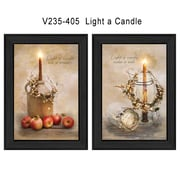 "TrendyDecor4U Light a Candle -2-12""x18"" Framed Print (V235-405)"