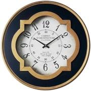 "Infinity Instruments 23.75""H x 23.75""L x 2.5""D Black & Gold Clock (15252AG-4171)"