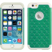 Elegant Diamond Back Cover with Additional Silicone Skin for Apple iPhone 6 6s , Teal White (APLCRC735)