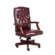 Boss Classic Executive Oxblood Vinyl Chair with Mahogany Finish Frame (B905-BY)