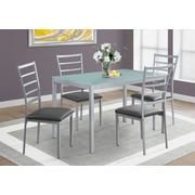 Monarch Specialties 5 Piece Dining Set In Silver / Frosted Tempered Glass