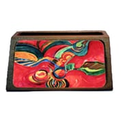 Carolines Treasures Red Flowers And Berries Decorative Desktop Professional Wooden Business Card Holder (CRlT16235)