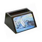 Carolines Treasures Blue Heron Sailboats Dog River Bridge Business Card Holder (CRlT67716)