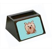 Carolines Treasures Checkerboard Blue Yorkie Yorkishire Terrier Business Card Holder (CRlT65387)