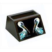 Carolines Treasures Dressed In Black Pelican Decorative Desktop Professional Wooden Business Card Holder (CRlT55628)