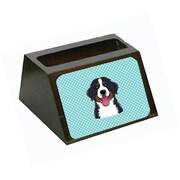 Carolines Treasures Checkerboard Blue Bernese Mountain Dog Business Card Holder (CRlT65455)