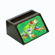 Carolines Treasures Frog Decorative Desktop Professional Wooden Business Card Holder, 4 x 1.25 x 2 in. (CRlT13609)