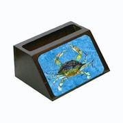 Carolines Treasures Crab On Blue Decorative Desktop Professional Wooden Business Card Holder (CRlT13579)