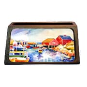 Carolines Treasures Boats At Harbour With A View Decorative Desktop Professional Wooden Business Card Holder (CRlT16322)
