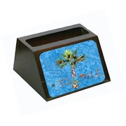 Carolines Treasures Welcome Palm Tree On Blue Business Card Holder (CRlT80632)