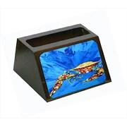 Carolines Treasures Big Spash Crab In Blue Decorative Desktop Professional Wooden Business Card Holder (CRlT55627)
