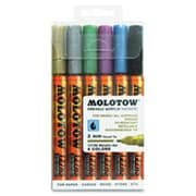 MOlOTOW Markers One4All 2 mm Acrylic Markers Metallic, Set of 6 (SPRCH50030)