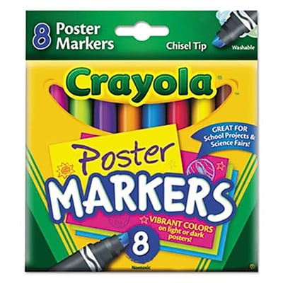 Crayola. Washable Poster Markers, Assorted, 8/Pk (AZERTY18426) 2626586