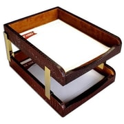 Dacasso Crocodile Embossed leather Double letter Trays - Brown (DCSS406)