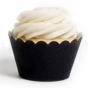 Dress My Cupcake Gliter Cupcake Wrappers, Black Platinum , Pack of 48 (DMCC046)