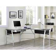 Altra Wingate Glass Top  L Desk, Black (9105396COM)