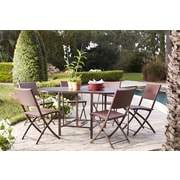 Transitional 7 Piece Delray Compact Folding Patio Dining Set (87637DBRE)