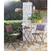 Transitional 3 Piece Delray High Top Folding Patio Bistro Set (87632DBRE)